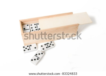 Dominoes box isolated on a white background.