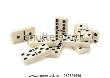 dominoes isolated on white background - stock photo