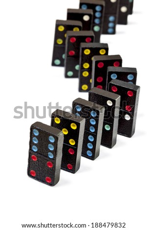 Dominoes isolated on white background.  Very old colorful set.