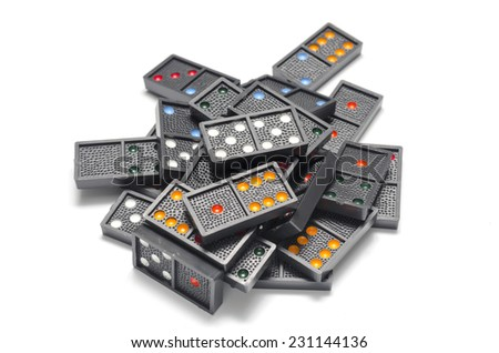 dominoes on a white background - stock photo