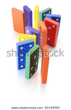 Dominoes on Isolated White Background