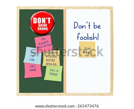 Don't be foolish plan ahead: Don't Drive drunk chalk board whiteboard post it notes  (you always have options, call home, call friend, call a cab) - stock photo