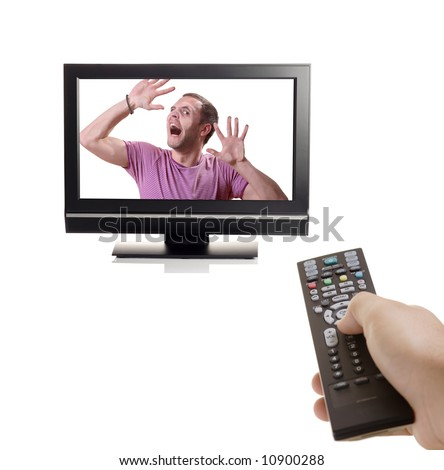 Don't change that channel - Person struggling to escape from inside a TV - stock photo