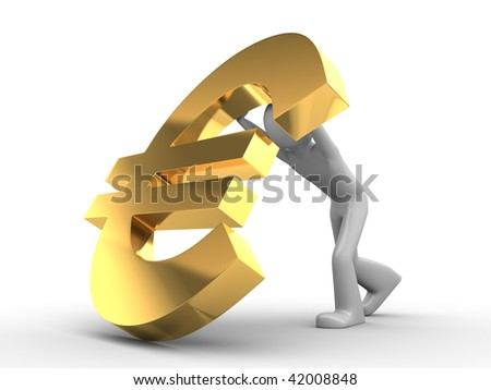 Don't fall, EURO - stock photo