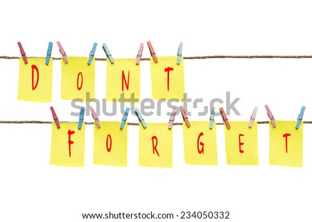 Don't forget sticky note - stock photo
