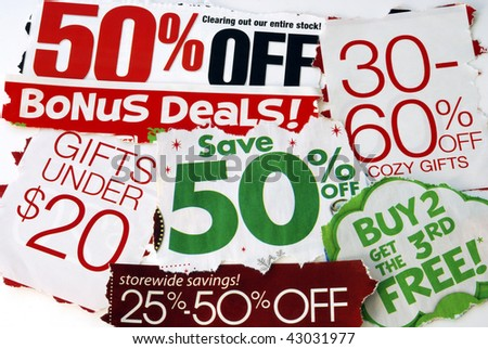 Don�t miss the on sale and free deals in this holiday season - stock photo