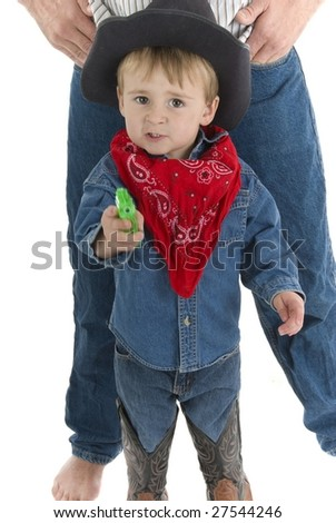 Don't worry I'll protect you dad - stock photo