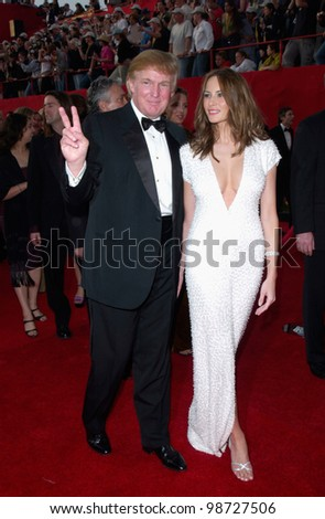 DONALD TRUMP & girlfriend at the 73rd Annual Academy Awards in Los Angeles. 25MAR2001.   Paul Smith/Featureflash - stock photo