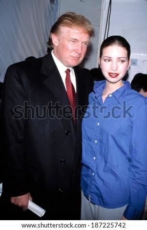 Donald Trump, Ivanka Trump at Zang Toi 1999 Fall Collection, February 18, 1999 - stock photo