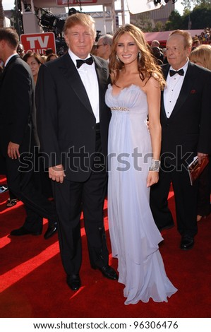 DONALD TRUMP & wife MELANIA at the 57th Annual Emmy Awards in Los Angeles. September 18, 2005; Los Angeles, CA:    Paul Smith / Featureflash - stock photo