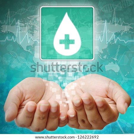 Donate blood,Blood Drop sign on hand ,medical icon - stock photo