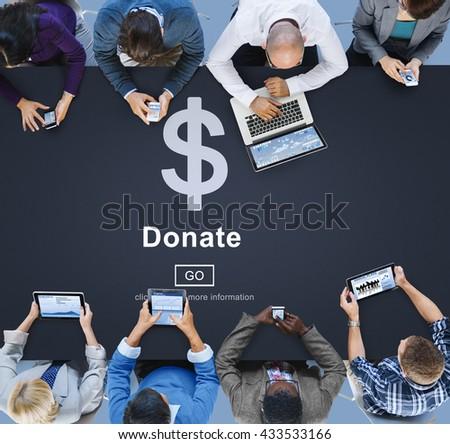 Donate Cash Money Gift Assistance Concept - stock photo