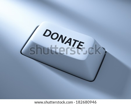 Donate , Computer key , Blue toned with soft light