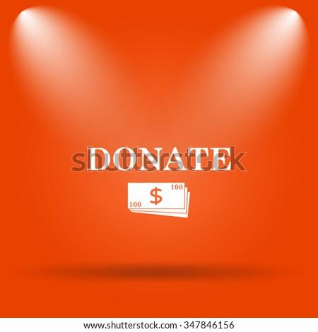 Donate icon. Internet button on orange background.  - stock photo