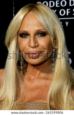Donatella Versace attends the Rodeo Drive Walk Of Style Award honoring Gianni and Donatella Versace held at the Beverly Hills City Hall in Beverly Hills, California on February 8, 2007.  - stock photo