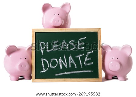 Donation box message, charity fund concept, piggy bank - stock photo