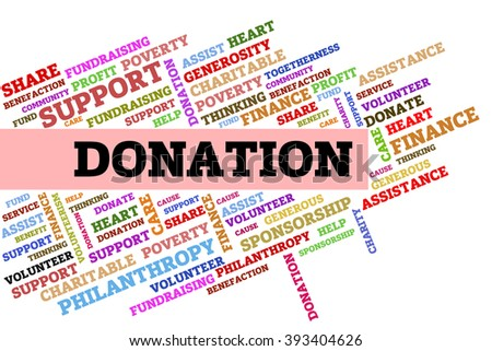 Donation word collage on a transparent wipe board. - stock photo