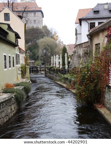 Donau river in the fall in Krumlov in the Czech republic
