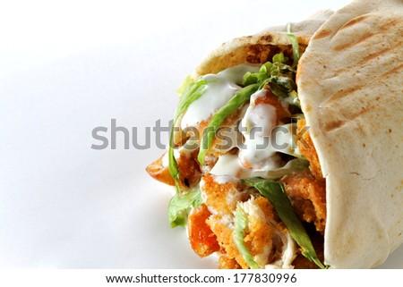 Doner kebab not isolated  - stock photo