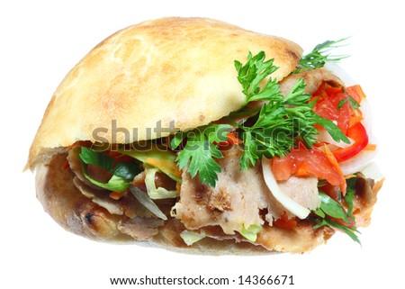 Doner kebab on a white background. - stock photo