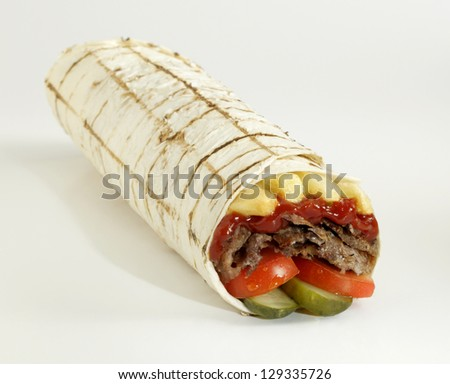 doner kebab wrap - stock photo