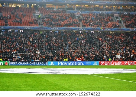 DONETSK, UKRAINE - FEB 13: Full Donbass Arena stadium during the match of the Champions League, 13 February 2013, Donbass-Arena, Donetsk, Ukraine