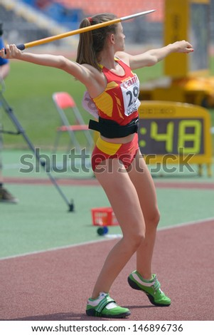 DONETSK, UKRAINE - JULY 13: Emilia Del Hoyo of Spain competes in the javelin throw in Heptathlon girls during 8th IAAF World Youth Championships in Donetsk, Ukraine on July 13, 2013