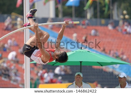 DONETSK, UKRAINE - JULY 14: Takumi Okamoto of Japan competes in the final in pole vault during 8th IAAF World Youth Championships in Donetsk, Ukraine on July 14, 2013