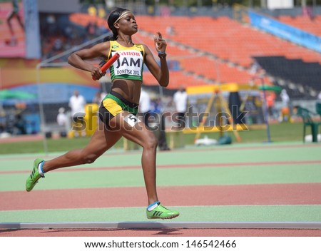 DONETSK, UKRAINE - JULY 13: Yanique McNeil of Jamaica competes in the medley relay competitions during World Youth Championships in Donetsk, Ukraine on July 13, 2013