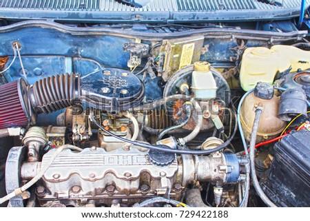 DONETSK,UKRAINE   November, 2013: Interior Parts Of Vintage Car Opel Kadett  1988