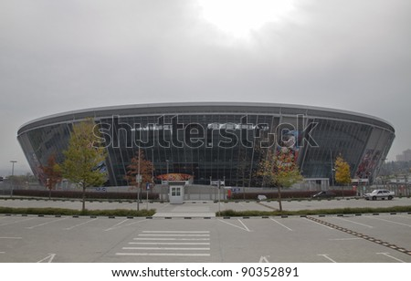 "DONETSK, UKRAINE - OCTOBER 14 - ""DONBAS ARENA"" soccer stadium in Donetsk. The stadium will host matches of UEFA Euro 2012. Donetsk, October 14, 2011. - stock photo"