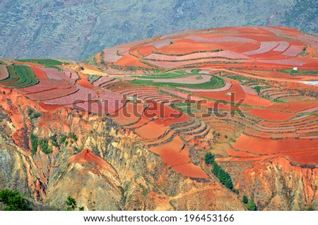 DONGCHUAN, CHINA � MAY 27, 2014: Dongchuan Red Land is located in Yunnan Province, China with an altitude of 1800-2600 meters above sea level and it is famous for its red soil and colorful farms. - stock photo