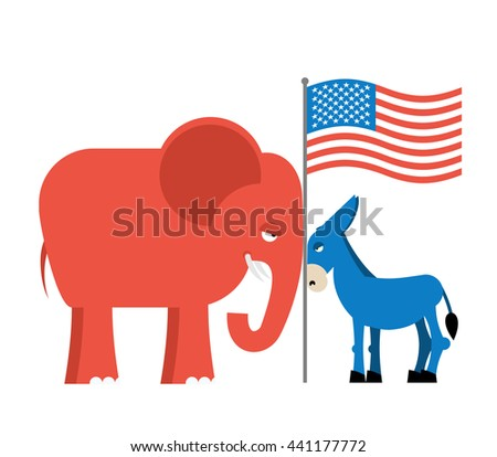 Donkey and elephant symbols of political parties in America. USA elections. Democrats against Republicans. Opposition to American policy.   - stock photo