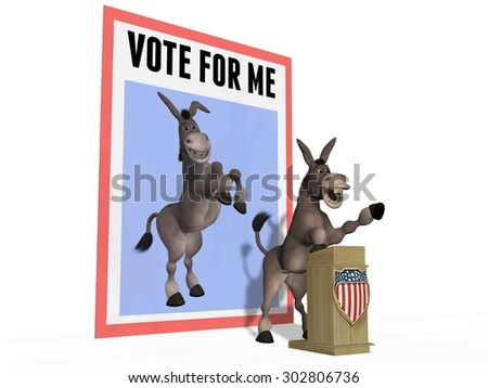 Donkey at Campaign Lectern With Vote For Me Sign - stock photo