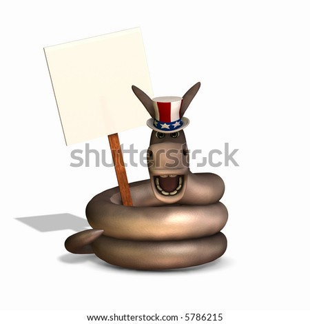 Donkey head with a snake body representing a Democrat and holding a blank sign. Political humor. - stock photo
