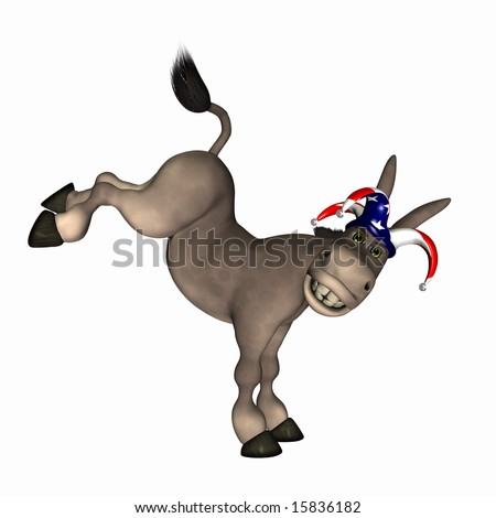Donkey kicking up his legs wearing a red, white and blue jester cap. Democrat. Political humor. - stock photo