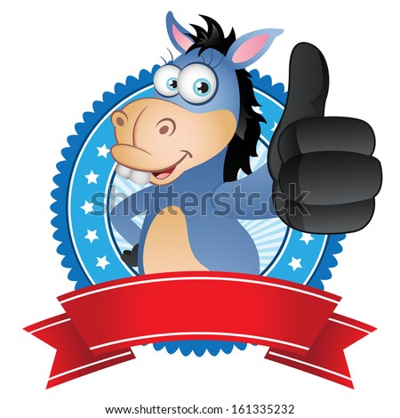 Donkey thumbs up with badge label - stock photo