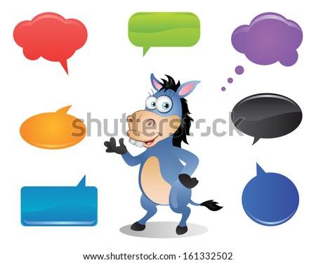 Donkey with Speech Bubbles - stock photo