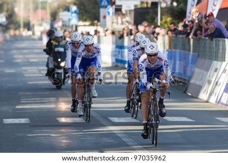 DONORATICO, LIVORNO, ITALY - MARCH 07: Team FDJ during the 1st Team Time Trial stage of 2012 Tirreno-Adriatico on March 07, 2012 in Donoratico, Livorno, Italy - stock photo