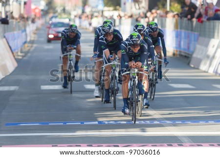 DONORATICO, LIVORNO, ITALY - MARCH 07: Team Movistar during the 1st Team Time Trial stage of 2012 Tirreno-Adriatico on March 07, 2012 in Donoratico, Livorno, Italy - stock photo