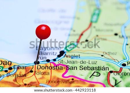 Donostiasan Sebastian Pinned On Map Spain Stock Photo Royalty Free