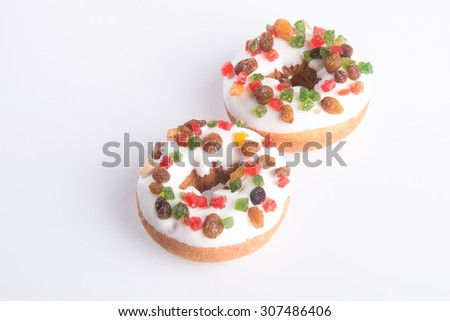 donut. Christmas donut on a background