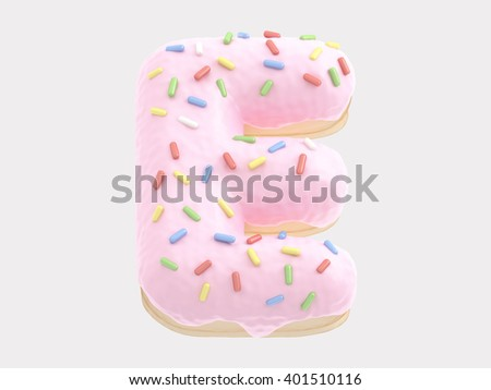 Donut font pink cream. 3d rendering
