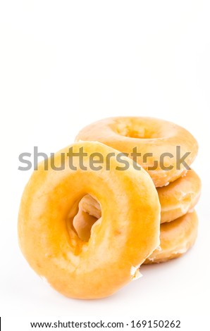 Donut on isolated white background