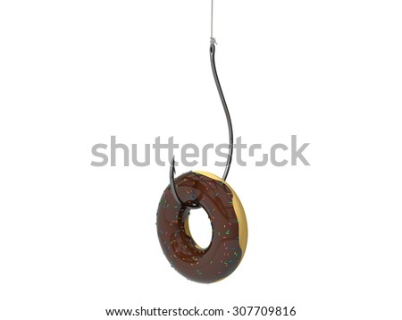 donut on the fishing hook. - stock photo