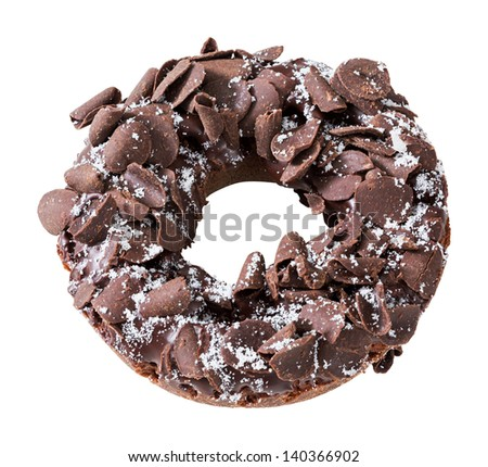 Donut or doughnut topped by shredded chocolate isolated on white - deep focus photo - stock photo