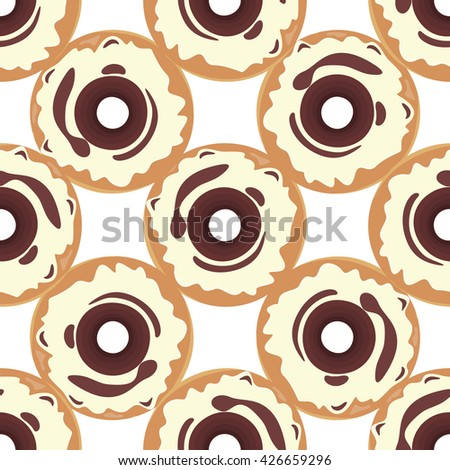 Donut seamless background texture pattern. Cute donuts with glazing. Seamless pattern. Delicious donut glazed. Donut pattern. Chocolate donuts. Isolated donuts seamless pattern - stock photo