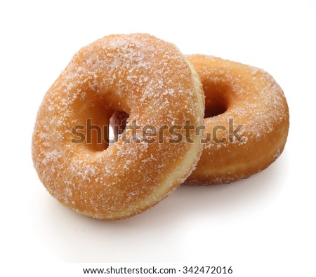 Donut with caster sugar isolated on white  - stock photo