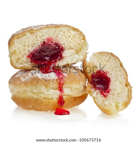 Donut with jam isolated on white background - stock photo