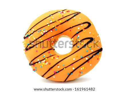 Donut with Orange and Yellow isolated on a White Background - stock photo